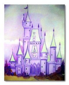 Princess Cinderella Purple Castle Kids Girls room Decor, Kids Decor, Kids Wall Art, Nursery Decor, Nursery Wall Art, Princess Castle Art