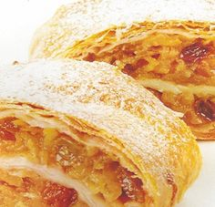 Mom's APRICOT STRUDEL * golden raisins, coconut, nuts, apricot jam ~ rolled in a sour cream dough, then sliced (cookie sized) ~ dusted with powdered sugar ** The rolls keep for about 3 months in the refrigerator ** FAVORITE HOLIDAY TREAT ** recipe ** Apricot Roll Recipe, Apricot Recipes, Coconut Recipes, Strudel Dough Recipe, Strudel Recipes, Recipes Using Sour Cream, Jam Roll, 1950s Food, Phyllo Dough