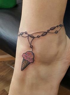 Ankle Tattoos Ideas for Women: Ice Cream Anklet Tattoo