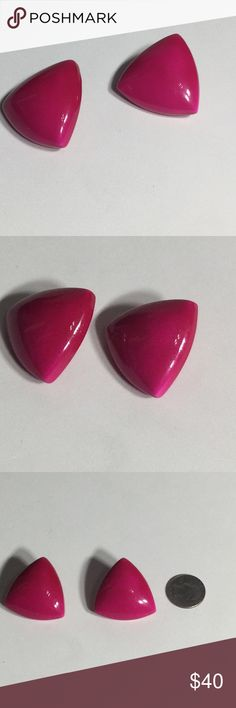 Vintage Hot Pink Triangle Plastic Earrings Gently Used Condition.  Please ask questions before purchasing.  See pictures for more information and description details.  Thank you for stopping by my closet.  Sparkles ✨ and Happy Poshing!  📌Fair Offers Considered Jewelry Earrings