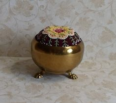 Handmade Pin Cushion in Brass Container Felted by QuiltShenanigans