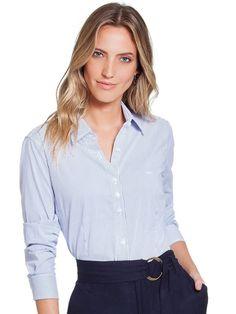 b71239d2ab Camisa Social Principessa Ellora Branca Listrada
