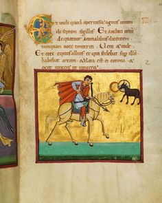 """Bamberger Apokalypse – 14r – The first horseman, Conquest on the White Horse – The text reads: Then I saw when the Lamb broke one of the seven seals, and I heard one of the four living creatures saying as with a voice of thunder, """"Come."""" I looked, and behold, a white horse, and he who sat on it had a bow; and a crown was given to him, and he went out conquering and to conquer. – Revelation 6:1-2˄"""