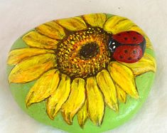 Flower Rock Painting, Garden Rock, Sunflower, Flower Art, Painted Lady Bug,3D Stone, Painted Rock, Gift for Her, Patio Decor, Floral Decor