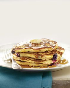 Blueberry-Cornmeal Pancakes - Martha Stewart Recipes/ delicious/slightly crunchy/yummy!