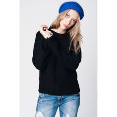 Black Mohair Knit Sweater with Round Neckline and Ribbed Hem