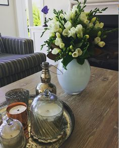 I'm a lover of trays with candles!  Styled by Ornella Botter Interiors.