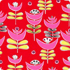 Red Flowers | City Scene Collection | Organic Cotton
