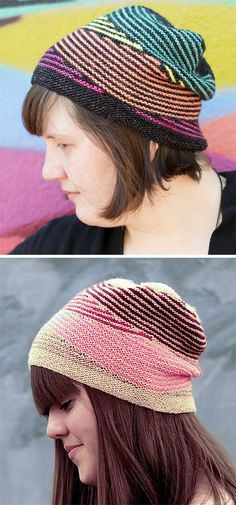 Knitting Pattern for Dazzle Hat - Knitted using fun, easy garter stitch short row stripes, this hat offers many options to play with color and works up super fast. Great for stash and leftover yarn. Designed by Katy Osterwald