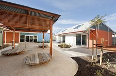 The development's site and building design, landscaping, car parks, and common/staffing facility, sit well in the surrounding neighbourhood, with an easy, integrated sense of private and public places for tenants and workers.  Twenty individual dwelling units and the common facility building were assembled offsite prefabrication near Adelaide, prior to delivery and connection on site.
