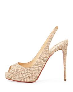 X2J4H Christian Louboutin Private Number Python-Embossed Red Sole Pump, Beige
