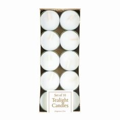 "White Tealight Candles Pack of 10 by Taylor Made Events For You The perfect lighting accompaniment to just about any candle holder or display. These white candles will make your room shimmer with soft candlelight. Unscented. 10 pack.Item weight: 0.2 lb. Each candle is 1?"" diameter x ?"" high. Paraffin wax and metal. Set of 10"