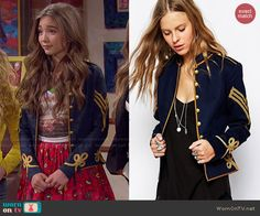 Riley's blue military style jacket on Girl Meets World. Outfit Details: http://wornontv.net/47341/ #GirlMeetsWorld