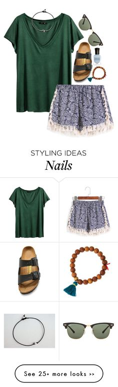 """i can show you the world. -Marina "" by the-preps on Polyvore featuring H&M, Birkenstock, Lead, Deborah Lippmann and Ray-Ban"