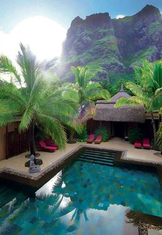 Spa by Clarins, Mauritius - I just have to keep pinning this one! I love the turquoise of the pool, the pink chairs, the brown wood, the lush greenery, and just the beauty of it all!