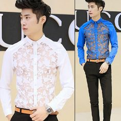 2015 NEW Luxury Casual Slim Fit Stylish Dress Shirt Fashion Cool Men Evening Club Lace Embellished Perspective Shirt 890