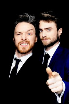 """dehaanradcliffe:  James McAvoy and Daniel Radcliffe at the photobooth of the 2015 Empire AwardsEmpire magazine: Who's the most exciting person you've met tonight that you've never met before?James: Daniel Radcliffe. Oh, that I haven't met before? I had an exciting moment where somebody jumped in front of me and said,""""You need to give me the contact details for your agent."""" I was like,""""No, I don't, I've got to get to my table because we're late!"""" But Daniel bouncered for me. I was like…"""