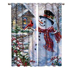 Dabhome Home Decor Window Curtains, Christmas Snowman Bird Snowscape | Sunlight Filtering Nature Air Through, 2 Panel Window Covering for Bedroom Living Room Kitchen Cafe 55W x 39L inch,...