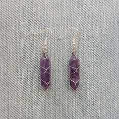 Amethyst Point Wire Wrapped Earrings by MarleeCWatts on Etsy