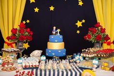 Awesome dessert table at a Little Prince birthday party!  See more party planning ideas at CatchMyParty.com!