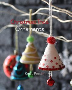 How to make these cute Christmas ornaments. -- can just wrap construction paper by ... cutting a piece construction paper or paper plate .. in a circle .. pick a spot and from there .. cut straight to center .. then from that same line cut .. cut very small circle out of center .. this allows you to wrap the paper into a cone shape .