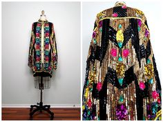 INCREDIBLE Retro Rainbow Sequined Kimono / Colorful Sequin Long Jacket / Bright Floral & Gold Embellished Open Kaftan by braxae on Etsy