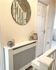 Persimmon souter landing with radiator cover uk apartment in 2019 persimmon Mirror Radiator Cover, Modern Radiator Cover, Hallway Decorating, Interior Decorating, Interior Design, Persimmon Homes, Designer Radiator, Small Hallways, Upstairs Bathrooms
