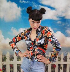 90s novelty print button up pinup girls by SidewalkSpectacle, $28.00