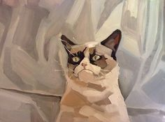 Laura Kaelin's memes rendered as works of art via her Bejameme blog: Grumpy Cat 2012, 2013