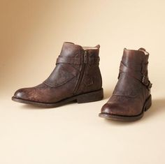 JAYDEN SHORT BOOTS BY FRYE®--Stonewashed leather lends a well-worn patina to Frye's sporty buckled ankle boots. Cushioned insole, leather sole and heel, antiqued brass buckle and inside zip.
