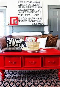 red drawers