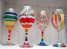 Happy birthday wine glass painting.