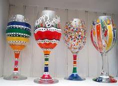 Happy birthday wine glass painting.
