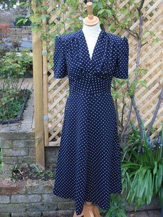 1940s Mary Dress - Navy Polka Dot