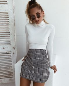 ⚡️The 'Fern' top and 'Madison' skirt ⚡️Tap to shop now - outfits - Jupe Casual Winter Outfits, Winter Mode Outfits, Plaid Outfits, Winter Fashion Casual, Winter Outfits Women, Denim Outfit, Cute Fashion, Outfits For Teens, Stylish Outfits