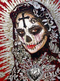 The Flesh Y La Santa Muerte by George Yepes Day Of The Dead Artwork, Day Of The Dead Skull, Skull Girl Tattoo, Sugar Skull Tattoos, Los Muertos Tattoo, Sugar Skull Artwork, Sugar Skull Girl, Sugar Skulls, Candy Skulls