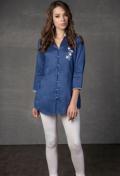 Linen kurti embellished with resham and lace work