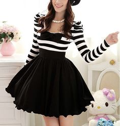 2012 New Women's Winter Black And White Striped Bubble Long-Sleeved Dress With Embedded Chiffon Bowknot Decoration - 12733892632. $74.52, via Etsy.