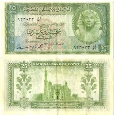 1956 Egypt 25 Piastres National Bank of Egypt Pick Number 28 Beautiful Crisp Uncirculated Banknote Old Egypt, Cairo Egypt, Ancient Egypt, Rare Coin Values, Faded Tattoo, Modern Egypt, Alexandria Egypt, Egypt Travel, World Coins