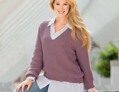 Пуловер, связанный жемчужным узором - схема вязания спицами. Вяжем Пуловеры на Verena.ru