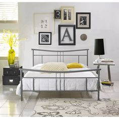 Annika Twin Metal Platform Bed Frame, Nickel
