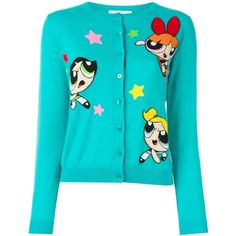 Moschino Powerpuff girls cardigan ($600) ❤ liked on Polyvore featuring tops, cardigans, jackets, sweaters, outerwear, green, moschino top, long sleeve cardigan, cotton cardigan and button front tops
