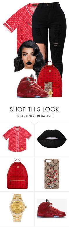 """Red Flag"" by chiamaka-ikaraoha ❤ liked on Polyvore featuring Louis Vuitton, Lime Crime, MCM, Gucci, Rolex and NIKE"