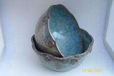 Coyote Opal with Archie's Base gradient sprayed on Speckled Buff clay body. Ceramic Bowls, Stoneware, Amaco Glazes, Serving Bowl Set, Wheel Thrown Pottery, Glaze Recipe, Clay Projects, Butter Dish, Opal