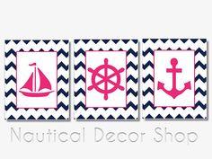 Navy and pink nautical nursery decor