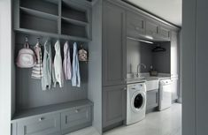 Grey, white and Oak kitchen Small Utility Room, Utility Room Storage, Utility Room Designs, Small Open Plan Kitchens, Open Plan Kitchen Living Room, Kitchen Dining Living, Grey Kitchens, Bespoke Kitchens, Drying Room