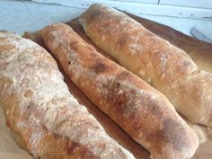 Posts about ciabatta written by foodinmybelle Baguette, Raw Food Recipes, Baking Recipes, Ciabatta Bread Recipe, Croissant, Honey Buns, Danish Food, Weird Food, Dinner Is Served