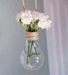2 pack Hanging Light Bulb Shape Plastic Flower Air Plant Container Planter Terrarium Home Decoration …