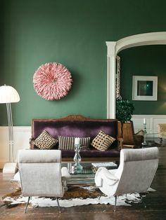 wandfarben ideen wohnzimmer grün schöne wanddeko