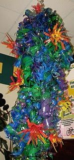 chihuly sculpture - The students brought in hundreds of bottles.  We painted, cut, splayed with a heat gun (teacher use only), and strung to create a Chihuly inspired chandelier for our school lobby.